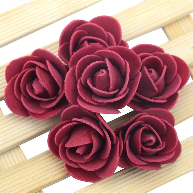 200pcs 3cm Mini Artificial Pe Foam Rose Flower Heads For Wedding Home Decoration Handmade Fake Flowers Ball Craft Party Supplies