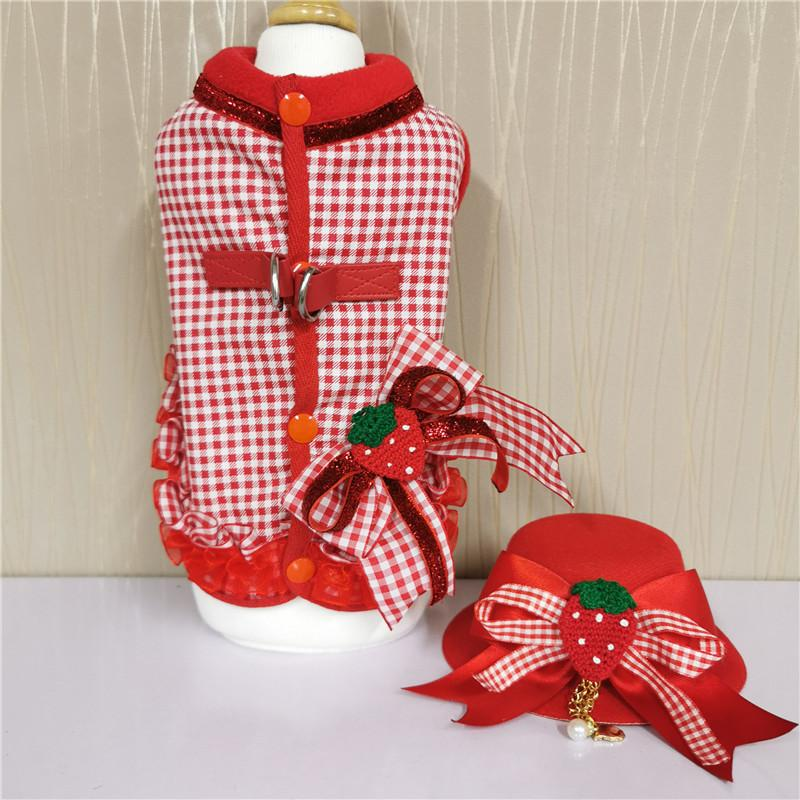Dimensional Pet Clothes Red Grid Strawberry Bowknot Dog Clothes Fit Cat Skirt Pet Clothes Traction Accessories