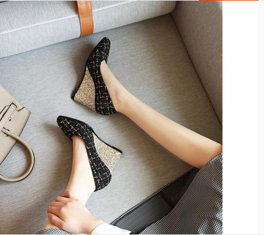 2020 весной и осенью с обувью Новый стиль моды Slope пятки заостренный конец женщин в @ MQWBH388