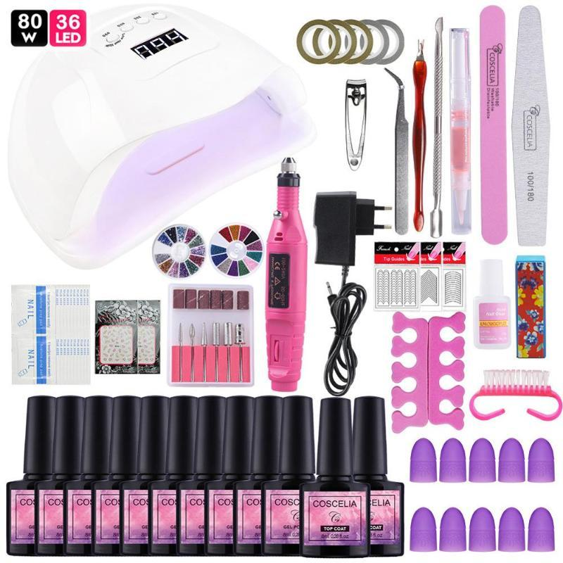 24/36/80W Led UV Nail Lamp For Nails Manicure Set Soak Off Nail Polish Art Tools UV Gel All for Manicure Top And Base Coat