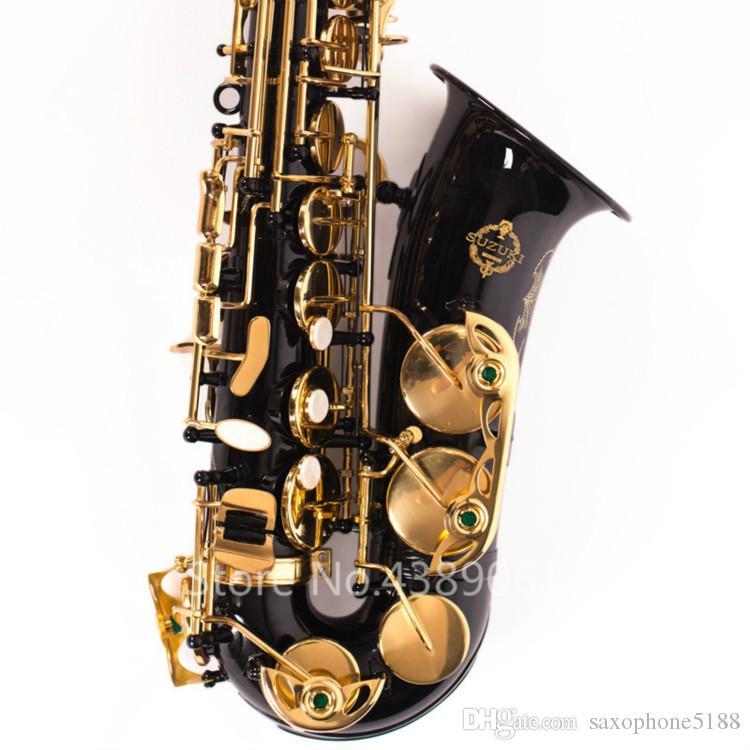 SUZUKI sassofono contralto in ottone con melodia suonando strumenti musicali e-flat nero nichel corpo sassofono laccato oro con bocchino