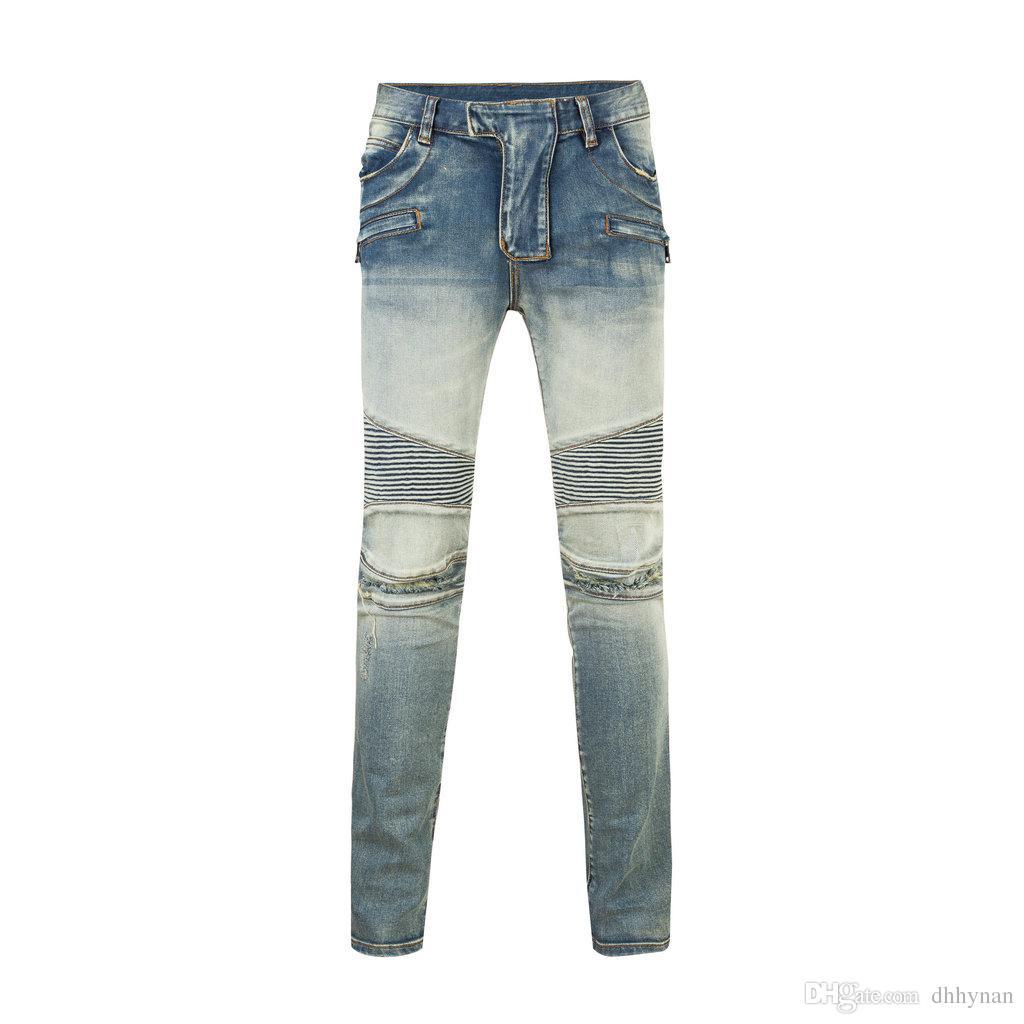 803 Hommes En Détresse Déchiré Skinny Jeans Marque Designer Moto Moto Biker Denim US Taille 28 ~ 40 Hip Hop Punk Pantalon Livraison Gratuite