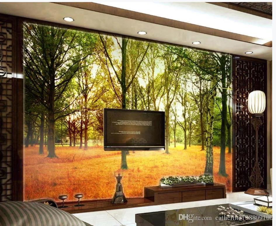 La stagione autunnale delle foglie del bosco della foresta del parco lascia le carte da parati moderne del salone della parete del fondo della TV