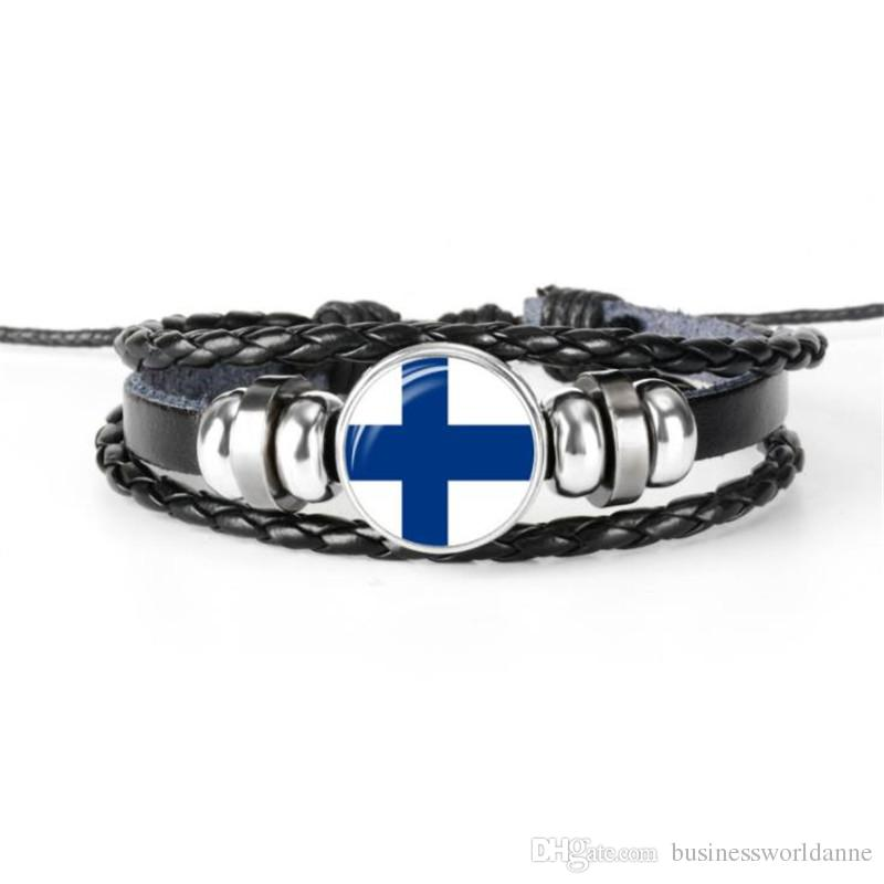 High Quality Simple Finland National Flag World Cup Football Fan Time Gem Glass Cabochon Leather Rope Beaded Bracelets For Women Men Jewelry