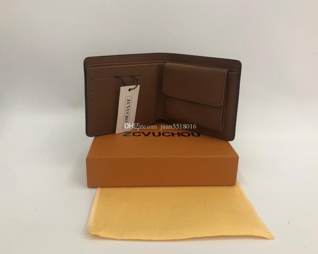 2019 Designer de estilo carteira homens famosos carteira carteira de couro especial múltipla curta carteira pequena com caixa de cartão de saco de pó