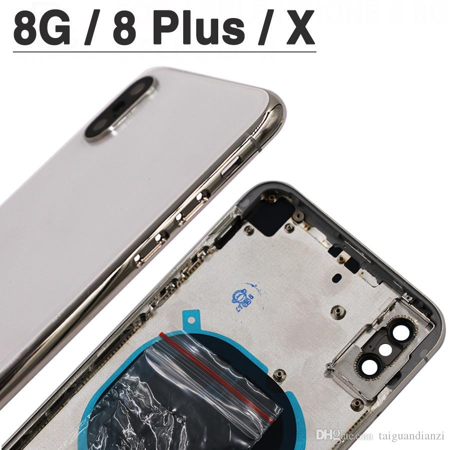For iphone 8G 8P Plus X XR XS MAX Back Cover + Middle Chassis Frame + SIM Card Full Housing Case Assembly
