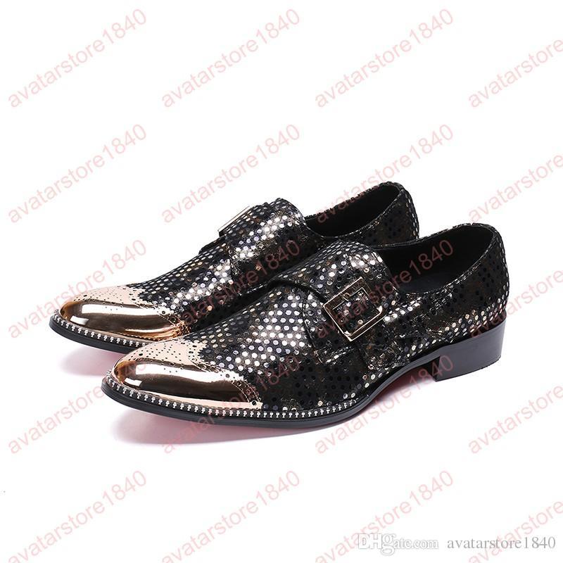 Mode hommes chaussures bout rond d'or chaussures habillées Boucle bout pointu sculpté Bullock Oxford pour hommes falt chaussures de mariage de fête