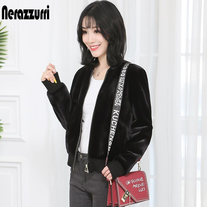 Inter de inverno curto bomber jacket mulheres plus size preto casaco de pele de manga comprida vermelha faux fofo 5XL 6XL feminino SH190930 roupas peludo