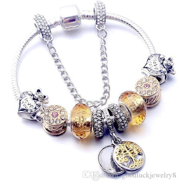 Fashion 925 Silver Plated Tree of life Pendant Charms Bracelet Set Original Pandora Snake Chain DIY Beads Charm Bracelets for Women Girls