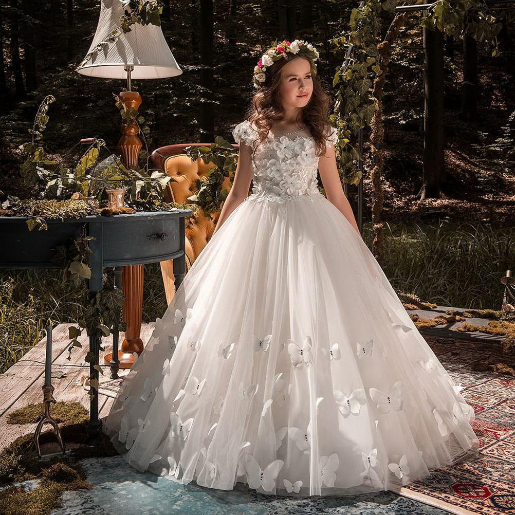 New White ivory Flower Girl Dresses Butterfly Short Sleeves Ball Gown O-Neck First Girls Communion Gown Girls Pageant Dress