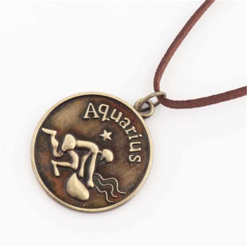 Twelve Constellations aquarius Necklace Pendant brown rope Quartz Men Women Half Fish Bronze Chain Steampunk Gift