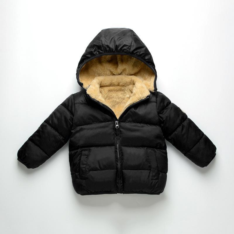 Outono Inverno Novo Estilo Homens e Mulheres Crianças cor sólida com capuz de algodão acolchoado roupa Crianças berbere velo mais grosso VELV