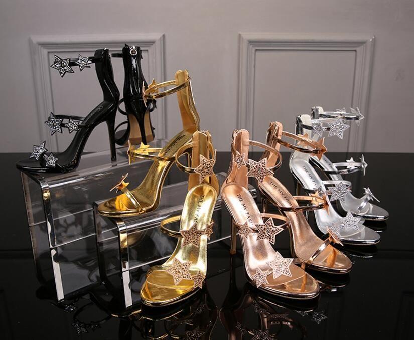 European luxury style classic high-heeled sandals lady shoes Paris supermodel catwalk buckle rubber outsole 8cm 11cm party prom women shoes