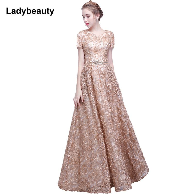 Ladybeauty 2018 Elegant Lace Evening Dress Simple Sleeveless Small Flowers Prom Dress Long Party Gown Y190525