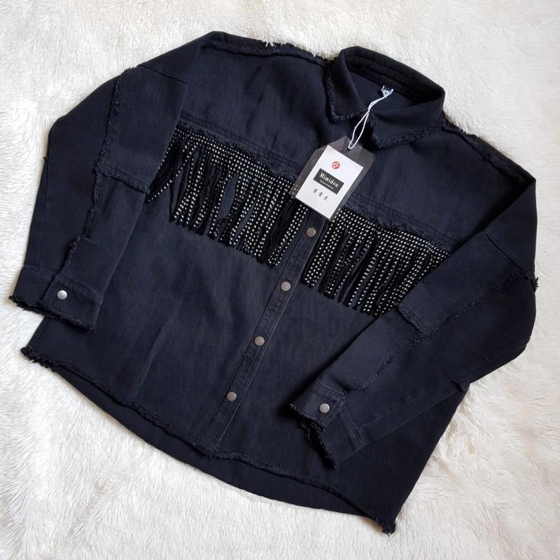 Giacca in jeans punk autunno primavera mooirue senza rivetto Flash nappe giacca cappotto allentato donna dritto casual cardigan nero Y190826
