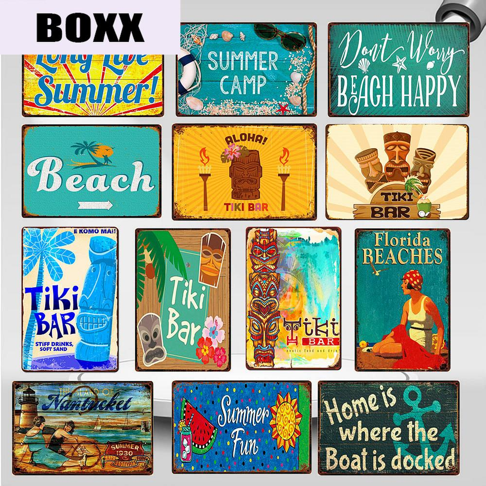 2020 2020 Shabby Chic Tiki Bar Florida Beach Metal Signs Vintage Summer Camp California Surfing Paradise Wall Art Stickers Home Decor Wy92 From Boxx 1 21 Dhgate Com