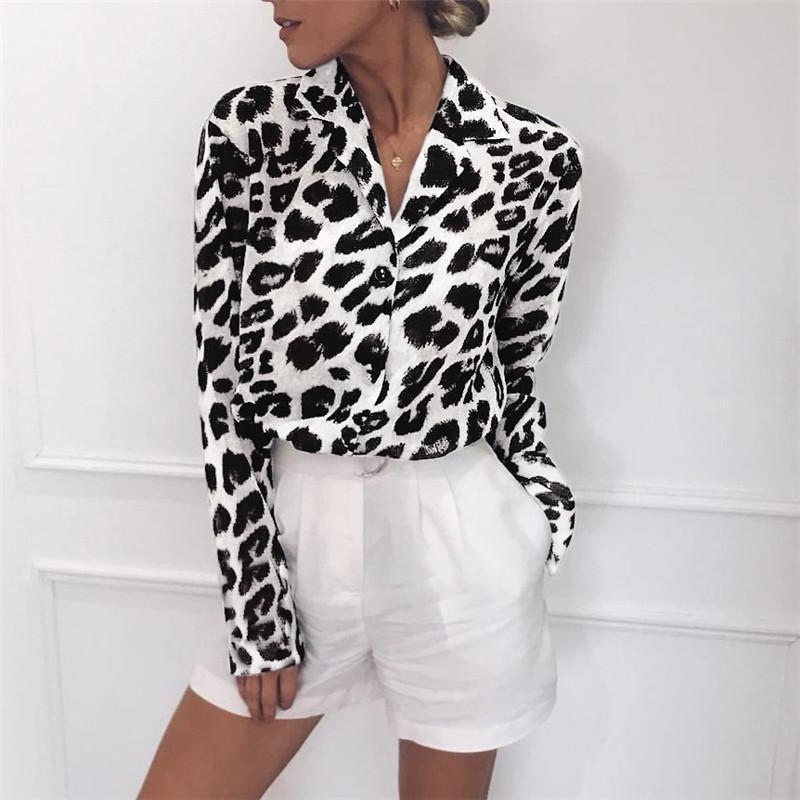 Bluse Langarm Sexy Leopard-Druck-Blusen-Down-Kragen-Dame Büro Hemd Tunika beiläufiges loses Tops Drehen Plus Size Blusas