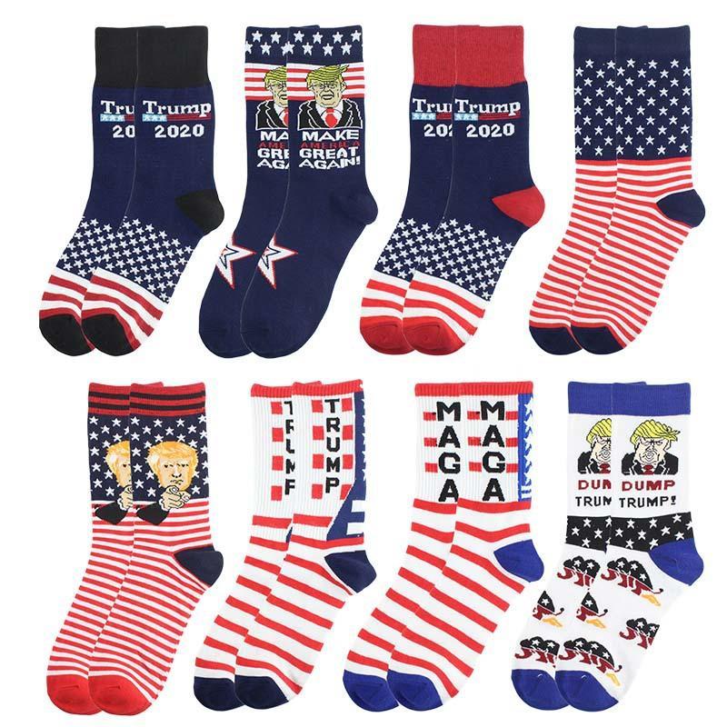 ZZA2405 favor Trump Presidente Calcetines MAGA Trump Carta medias a rayas Estrellas US Flag Deportes Calcetines MAGA Partido del calcetín