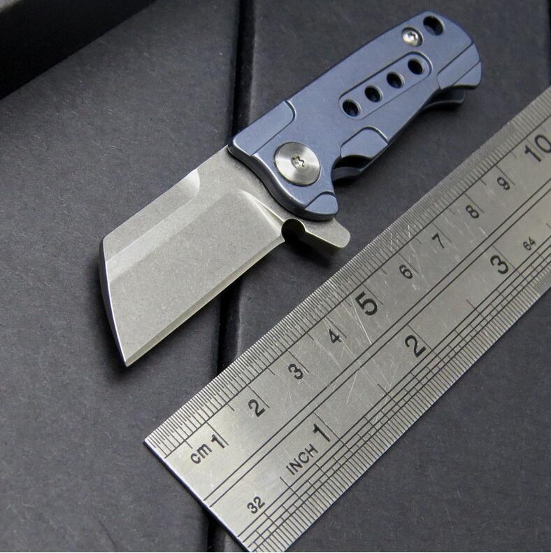 alta qualidade mini talho faca S35VN 100% faca 61HRC rolamento de esferas bolso punho titânio chaveiro faca dobrável presente para homem 1pcs Adul