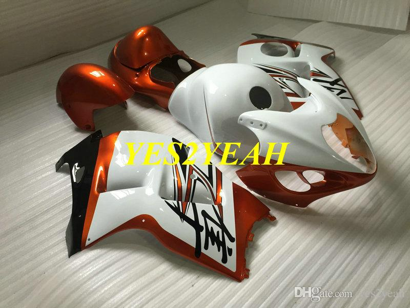 Injection Fairing body kit for SUZUKI Hayabusa GSXR1300 96 99 00 07 GSXR 1300 1996 2000 2007 Orange white Fairings bodywork+Gifts SG41