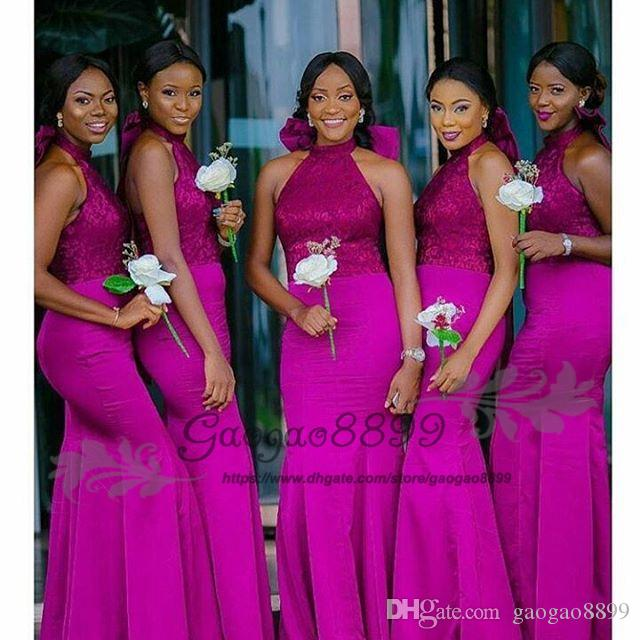 Modest Fuchsia mermaid Bridesmaids Dresses long with big bow 2019 Nigerian african Floor Length halter backless maid of honor gowns cheap