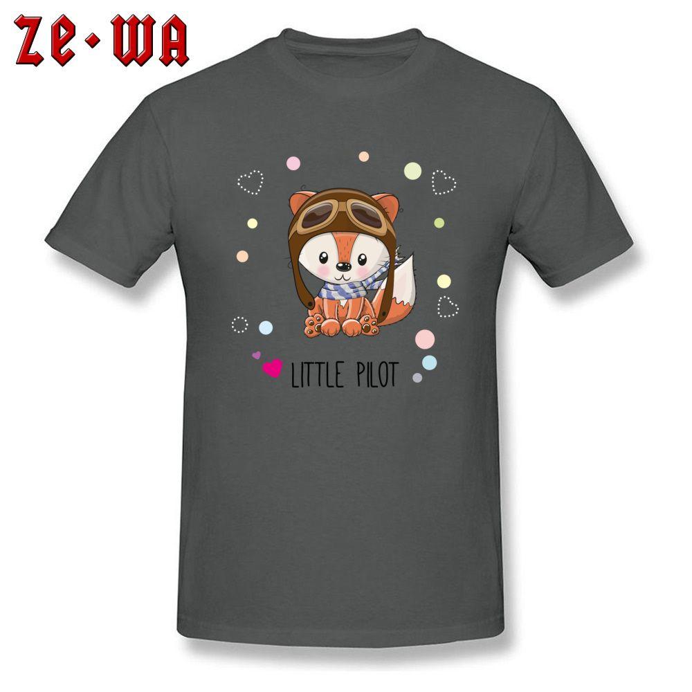 Crew Neck T-shirt Red Fox T Shirt Men Grey Tees Little Pilot Print Clothes Novelty Youth Tops Cheap Oversized Tshirt Cute Comics