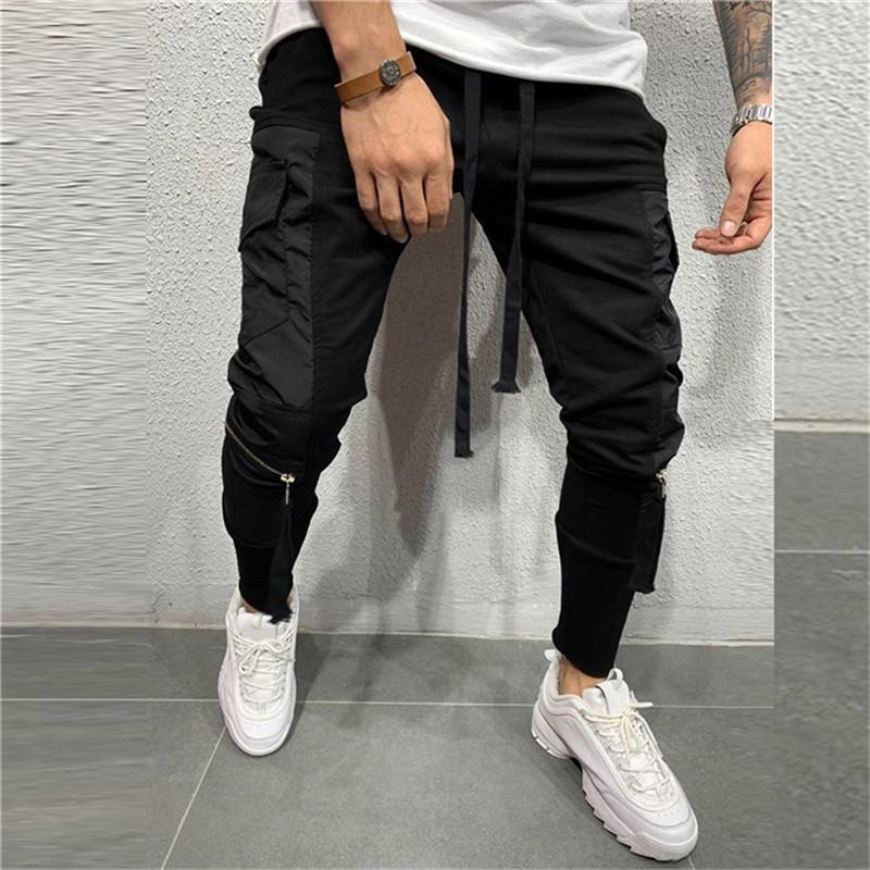 2019 мужские хип-хоп брюки уличная одежда для мужчин мода молния чистый цвет комбинезоны повседневная карманный спорт работа повседневная брюки Брюки новый