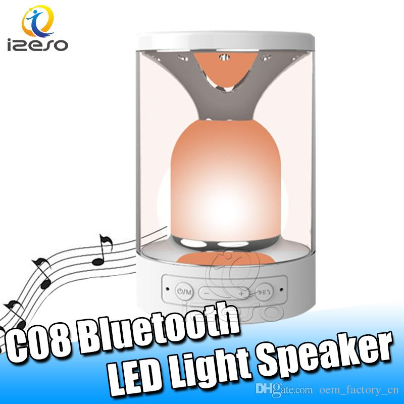C08 Bluetooth Mini Speaker Handsfree Music Play LED Colorful Light Speakers for iPhone Samsung Smart Phone Speaker with Retail Packaging
