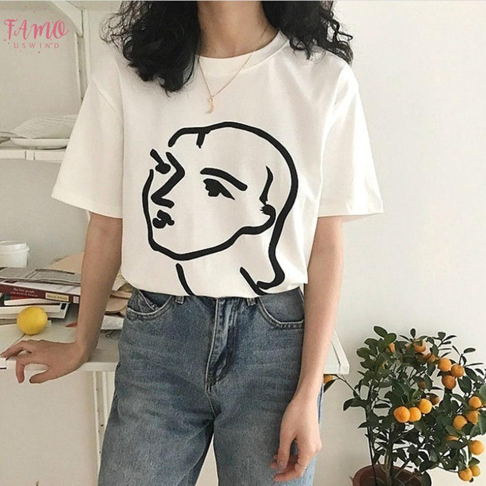 Korean Fashion Art Drawing T Shirt Women Abstract Couple Graphic Tee Cute Ulzzang Henri Matisse Line Drawing Face Art T Shirt