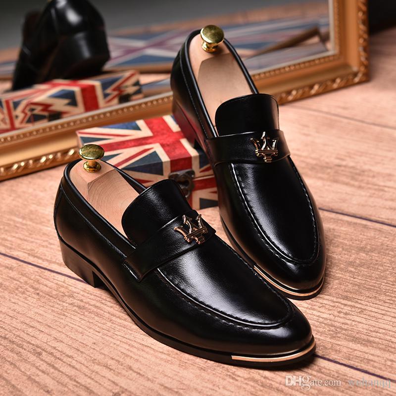 Erkekler Rahat ayakkabılar açık nefes Deri Loafer'lar erkekler Için elbise Ofis Ayakkabı Moccasins Rahat Moda Ayakkabı kayma erkekler
