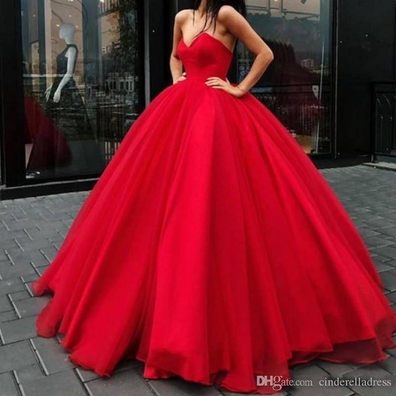 Glamorous Sexy Red Ball Gown Prom Dresses V-Neck Sleeveless Lace-Up Backless Quinceanera Dress Stylish Puffy Tulle 2019 Evening Gowns
