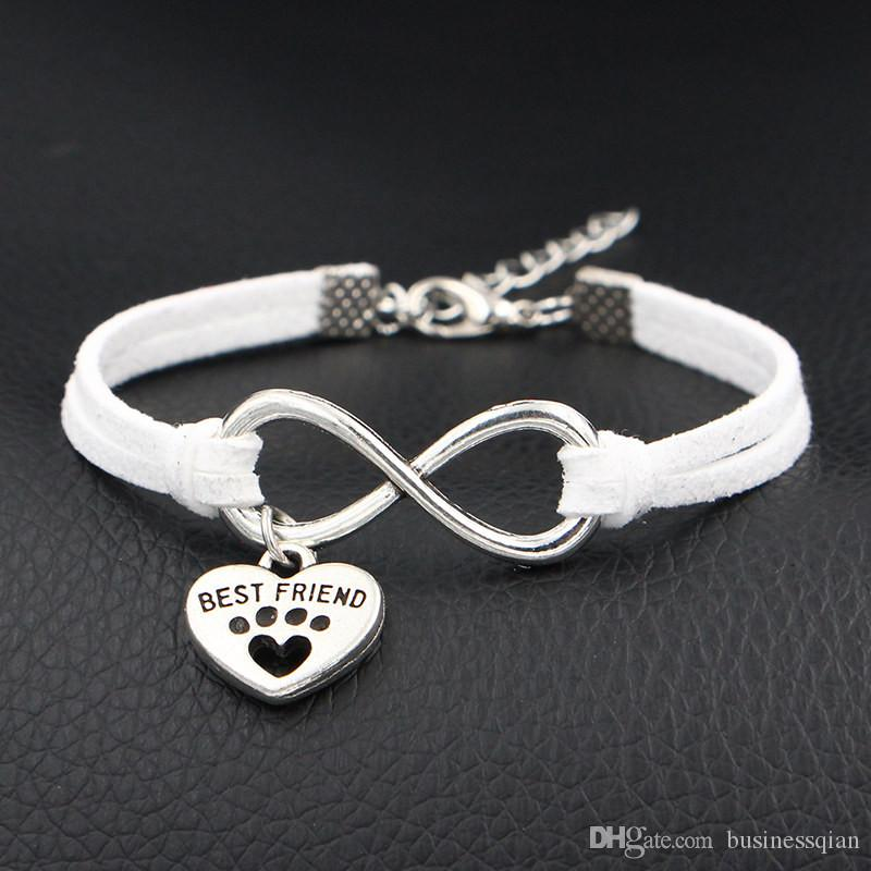 2019 Unique Mixed Infinity Love Dog Best Friend & Dog Paw Prints Heart Bracelets & Bangles Handmade White Leather Suede Jewelry Dropshipping