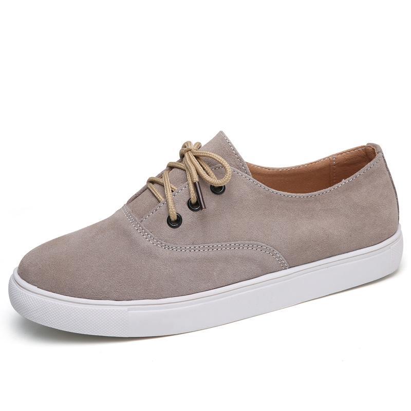 2018 primavera e in autunno Nuovi prodotti Moda Scarpe in stile coreano Lace-up DONNA Casual Shoes Pelle svedese antiscivolo Flat Top Sho