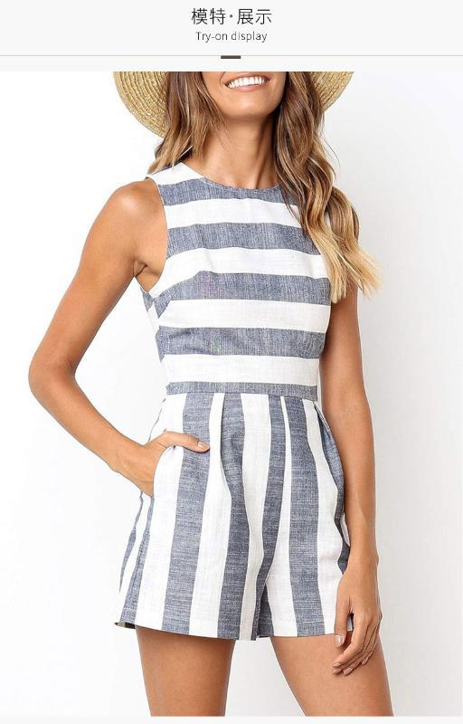 Summer 2020 new striped sleeveless jumpsuit women's casual jumpsuit shorts