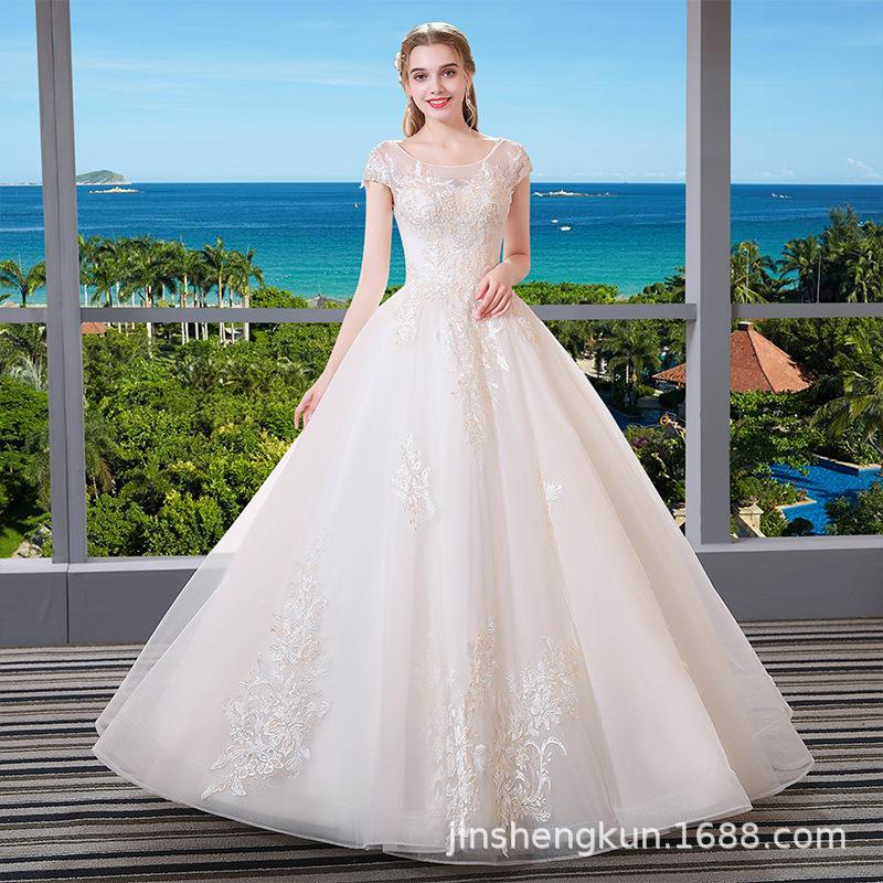 New bride Wedding Qi bra A word shoulder princess fluffy skirt skinny Autumn winter