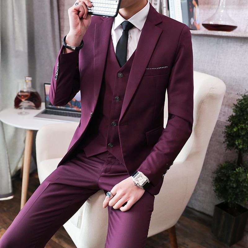 Pura cor do terno de três peças conjuntos Mens Wedding Banquet Homens Ternos Casacos Calças Ternos Coletes Fashion Business masculino Blazer