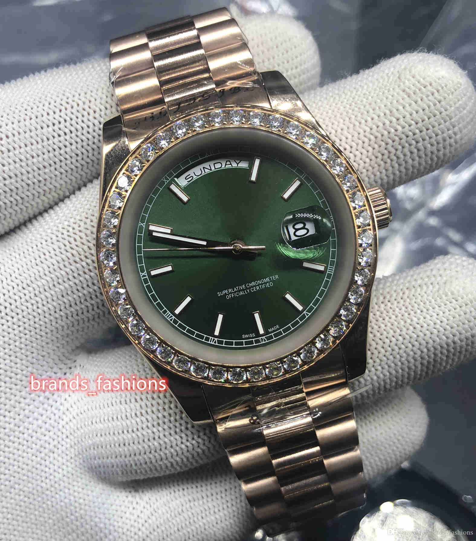 Boutique Hommes d'affaires Montre-bracelet boîtier en or rose en acier inoxydable Montre Diamond Bezel Montre Bracelet en acier inoxydable Montre automatique mécanique