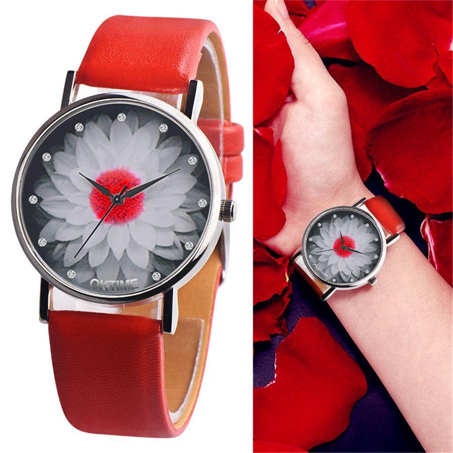 New Fashion Ladies Watch Luxury Womens Flower Casual Leather Strap Analog Quartz Wrist Watches Clock Gifts Relogio Feminino