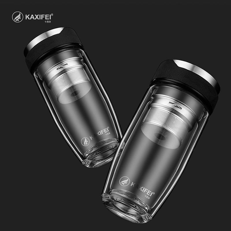 304 paslanmaz çelik Çay demlik Sıcak satış Çift Katmanlı Cam Suyu Şişesi Çay Meyve çiçek şişe Şeffaf Su Şişeleri