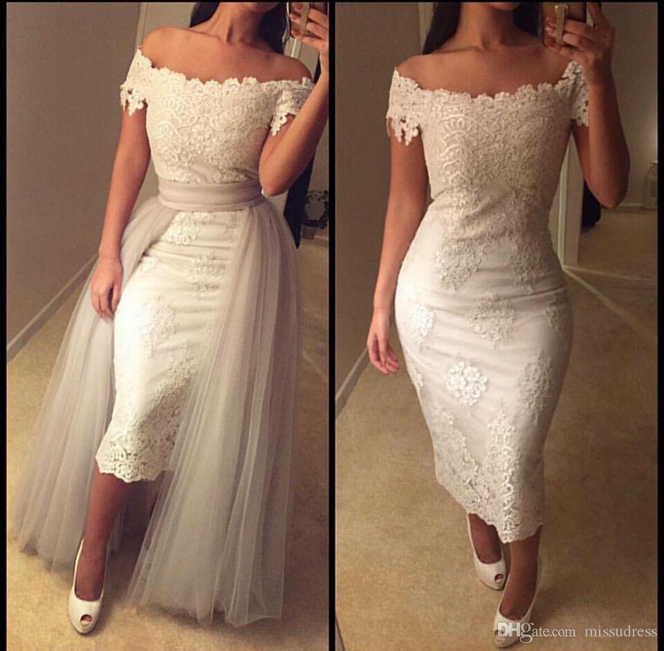Seksi Fildişi Balo Elbise vestidos de fiesta de noche Kapalı Omuz Akşam elbise 2019 Dantel Aplikler Çay boyu Parti Aşınma Etek
