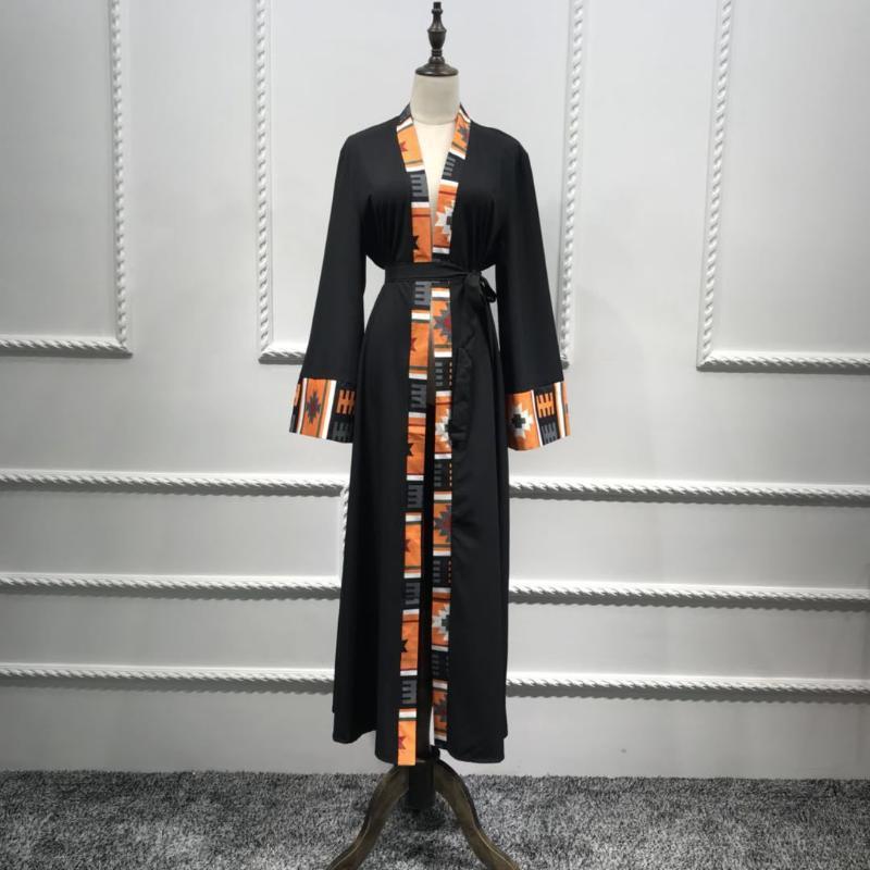 Kemer Kaftan Kimono ile Wepbel Arap Orta Doğu Abaya Dubai Baskılı Panel Hırka Robe Uzun Kollu Gevşek Müslüman Elbise