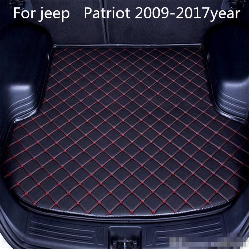 Para jeep Patriot 2009-2017year s coche antideslizante tronco Mat impermeable alfombra de cuero coche tronco Mat almohadilla plana