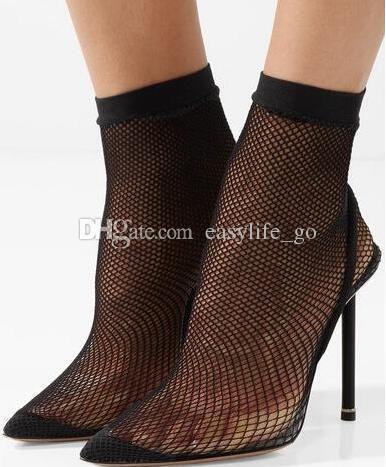 moda pist file ayak bileği çizmeler Sivri Burun mesh Stilettos caden yüksek topuklu Cut-out Çorap Ayakkabı Süperstar çizmeler yaz