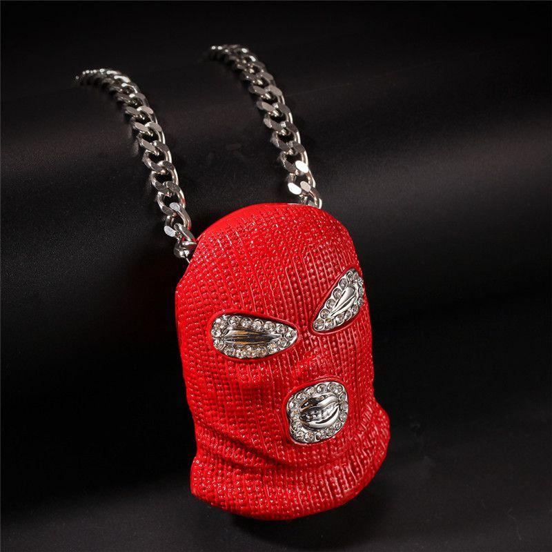 Хип-Хоп Iced Out Diamond CS Красная Маска Ужас Парики Ожерелье для Мужчин Женщин Ювелирные Изделия Оптом