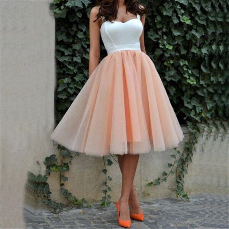Sin mangas de la manera del verano del vestido formal del partido de tarde de la bola del tutú de la mujer atractiva del vestido del cordón atractivo de los vestidos de boda de tul hasta la rodilla vestido