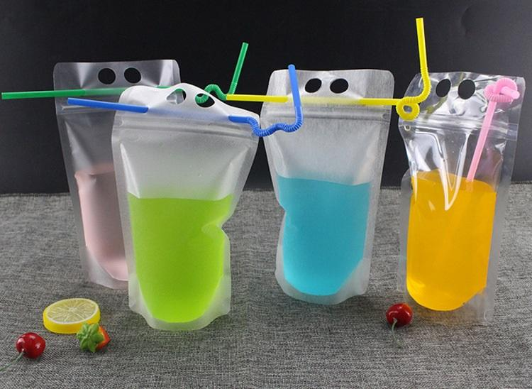 1000PCS 500ML شفاف باليد بلاستيك عصير المشروبات حقيبة DIY المشروبات حقيبة الفاكهة التخزين wen5586 مختومة الذاتي