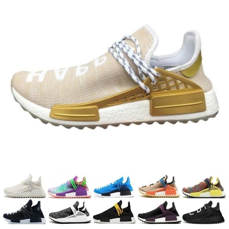 koşu ayakkabıları Klasik insan ırkı izi Pharrell Williams Hu koşucu Nerd siyah Sarı Beyaz kadın erkek eğitmenler spor ayakkabısı boyutu 36-47