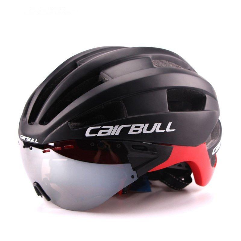 Ultra-light 235g Goggles Cycling Helmet Road Mountain MTB Bicycle Helmet In-mold Bike Helmet With Sun Visor Helmet M54-58cm (3)__