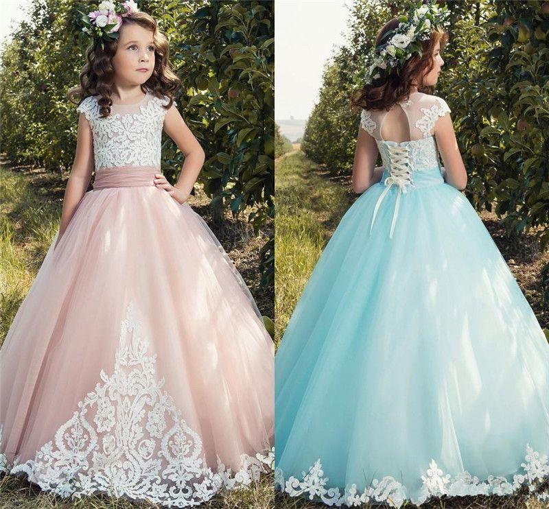 Flor azul rubor rosa claro niña vestidos joya ilusión apliques de tul vestido del desfile de la muchacha de fiesta de la boda
