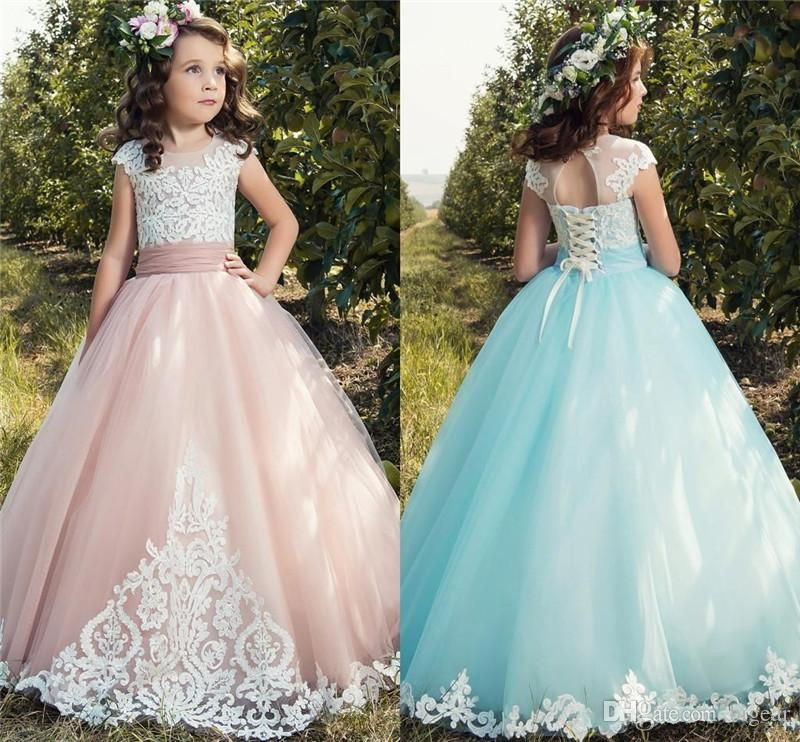 Blush Pink Light Blue Flower Girl Dresses Jewel Illusion appliqued Tulle Girl Dress spettacolo per la festa nuziale